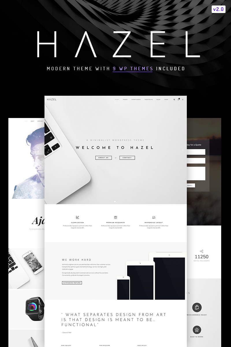 Responsivt Hazel - Clean Minimalist Multi-Purpose WordPress-tema
